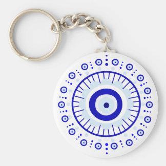 Evil Eye Burst Basic Round Button Keychain