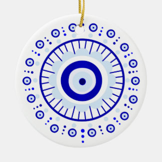 Evil Eye Burst Ceramic Ornament