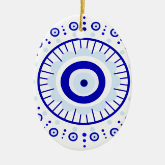 Evil Eye Burst Ceramic Oval Ornament