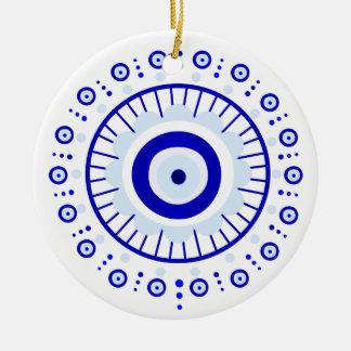 Evil Eye Burst Round Ceramic Ornament