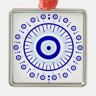 Evil Eye Burst Silver-Colored Square Ornament