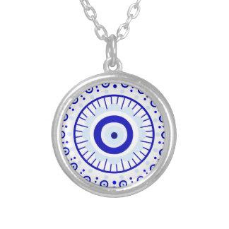 Evil Eye Burst Silver Plated Necklace