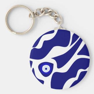 Evil Eye Lava Pattern Basic Round Button Keychain