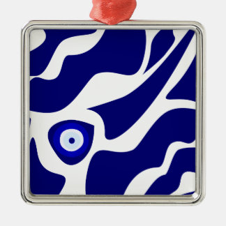 Evil Eye Lava Pattern Silver-Colored Square Ornament
