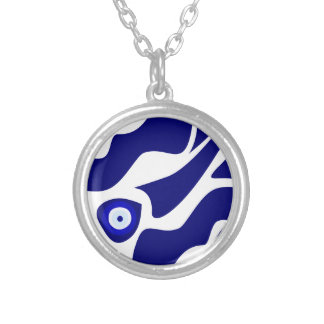 Evil Eye Lava Pattern Silver Plated Necklace