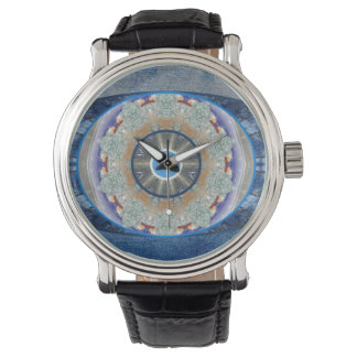 """Evil Eye"" Watch with Vintage Leather Strap"