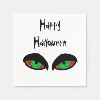 Evil Eyes Happy Halloween Party Paper Napkins