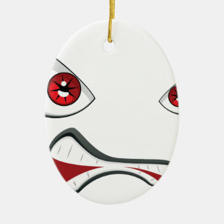 Evil Face with Red Eyes 2 Ceramic Ornament