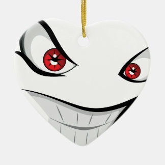 Evil Face with Red Eyes Ceramic Ornament