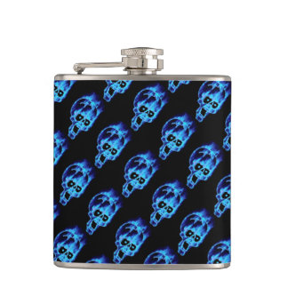 Evil Flaming Blue Skulls Pattern Goth Hip Flask