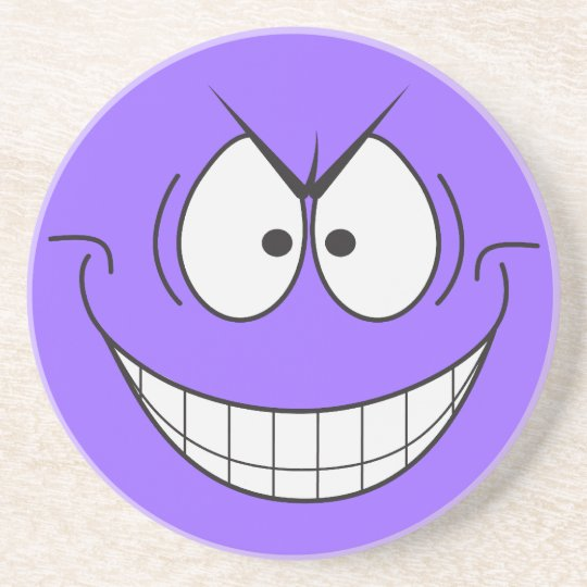 Evil Genius Smiley Face Purple Coaster
