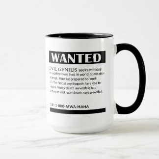 Evil Genius Wanted Ad Mug