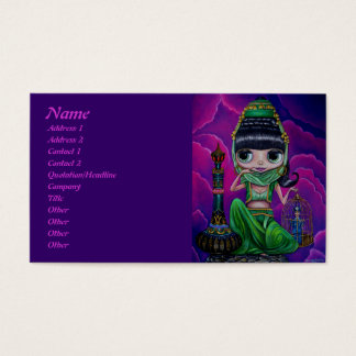 Evil Green Genie with Magic Bottle Business Card