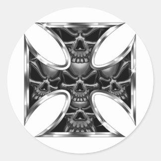 Evil Iron Cross Classic Round Sticker