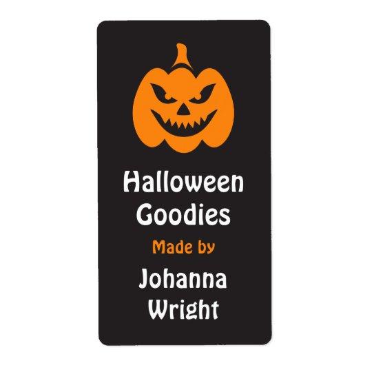 Evil Jack o lantern Halloween kitchen label