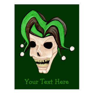 Evil Jester Skull (Green) Postcard
