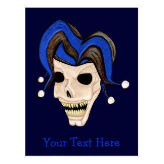 Evil Jester Skull Postcard