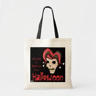 Evil Jester Skull (Red) Halloween Tote Bag