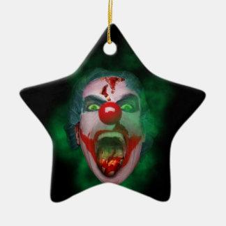 Evil Joker Clown Face Ceramic Star Ornament