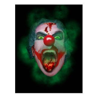 Evil Joker Clown Face Postcard