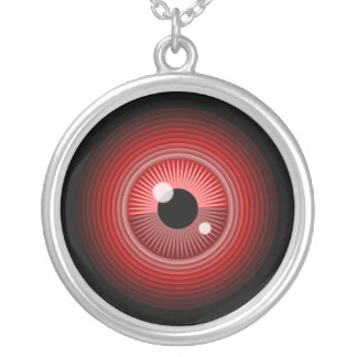 Evil magic red eye of the devil silver plated necklace