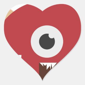 Evil Monster Head Heart Sticker