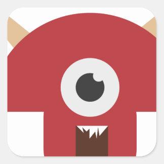 Evil Monster Head Square Sticker
