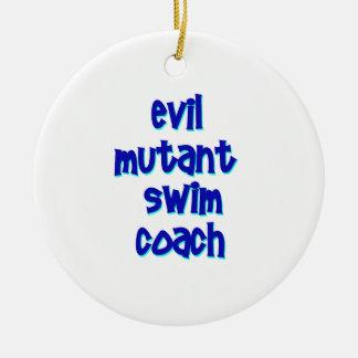 Evil Mutant Swim Coach Round Ceramic Ornament