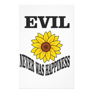 evil never was happiness personalized stationery