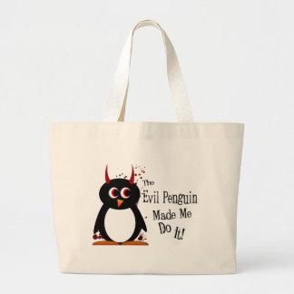 Evil Penguin made me do it tote bag