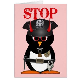 Evil Penguin Police Stolen My Heart Card