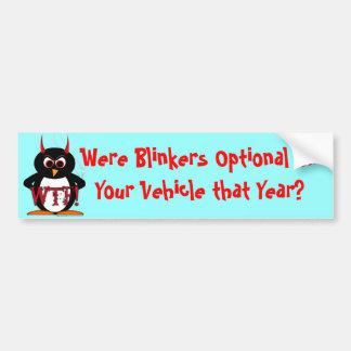 Evil Penguin WTF Blinkers Optional Bumper Sticker