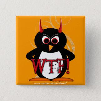 Evil Penguin WTF Button Bling