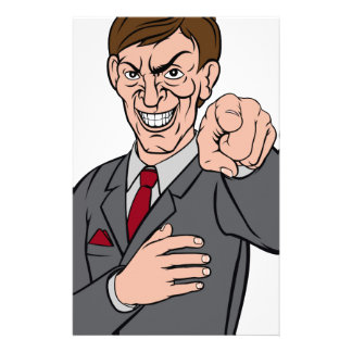 Evil Pointing Business Man Stationery Paper