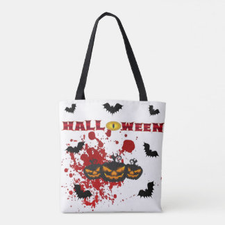 Evil pumpkin Halloween tote bag