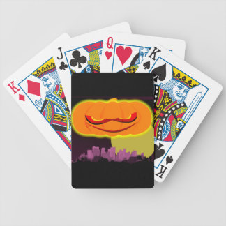 Evil Pumpkin Over The City Bicycle Playing Cards
