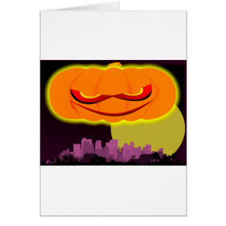 Evil Pumpkin Over The City Card