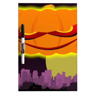 Evil Pumpkin Over The City Dry-Erase Whiteboards