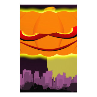 Evil Pumpkin Over The City Stationery Design