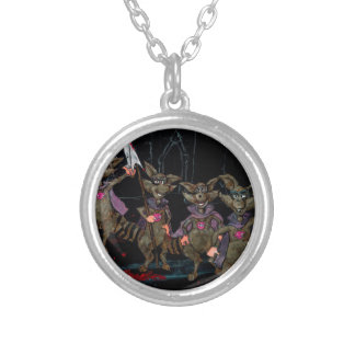 Evil Raccoons Silver Plated Necklace