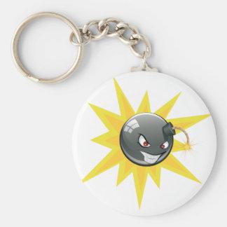 Evil Round Bomb Basic Round Button Keychain