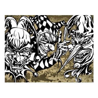 Evil, Scary Clowns Postcard