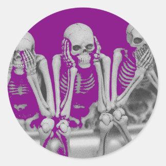 evil skeleton odd art round sticker
