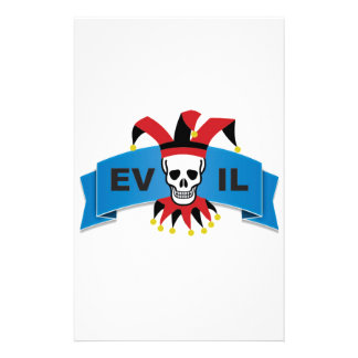 evil skull logo stationery design