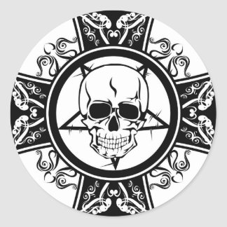 Evil Skull on Cross / Dark / Emo Classic Round Sticker