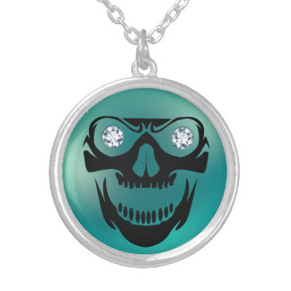 Evil Skull Rhinestone Eyes Necklace Pendant