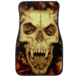 Evil Skull With Fangs Printed Car Mat