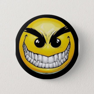 Evil smiley face 2 inch round button