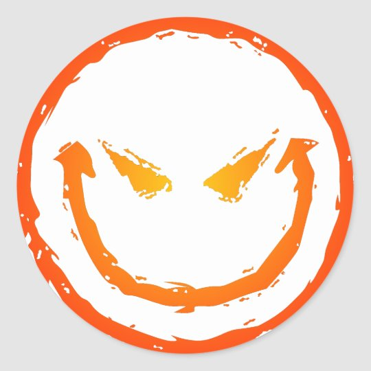 Evil Smiley Face Classic Round Sticker