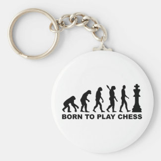 Evolution born to play chess key chain